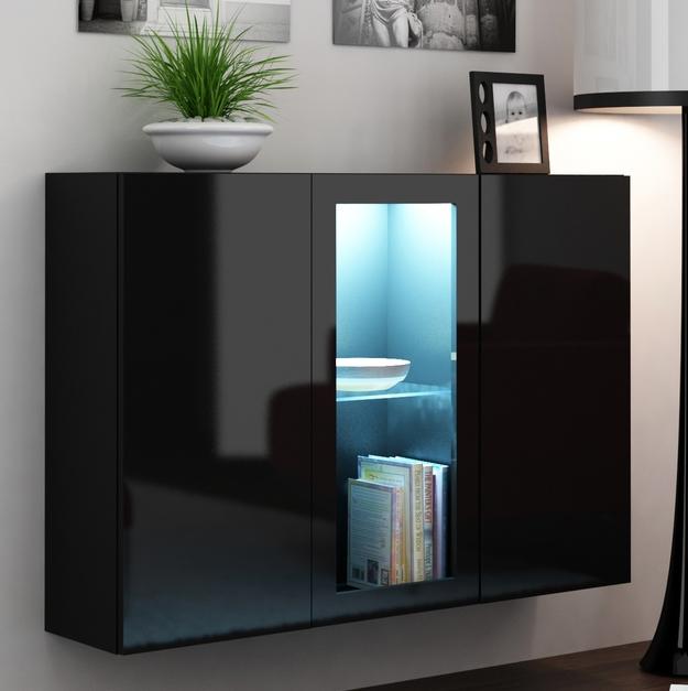 Vitrína na stenu Vigo LED čierna + čierna (s osvetlením)