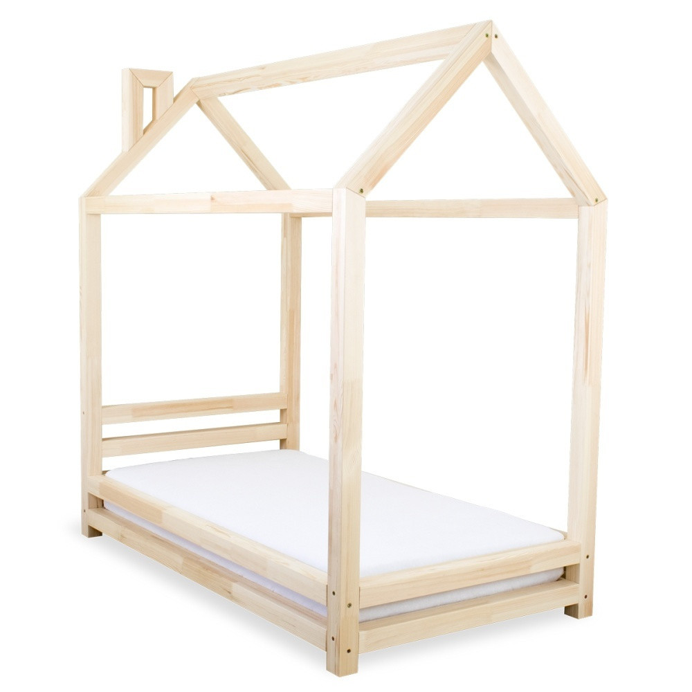 Detská posteľ z prírodného borovicového dreva Benlemi Happy, 90x160cm
