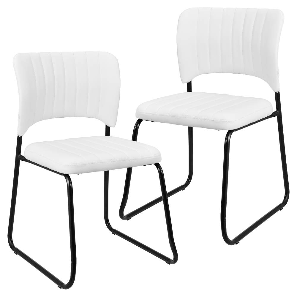 [en.casa]® Sada dizajnových koženkových stoličiek - 2 kusy - 78 x 45,7 cm - biele
