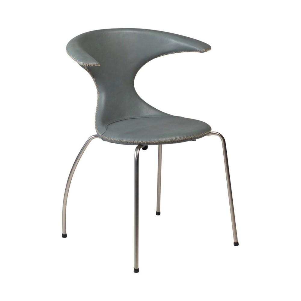 Sivá kožená jedálenská stolička s kovovou podnožou DAN–FORM Flair