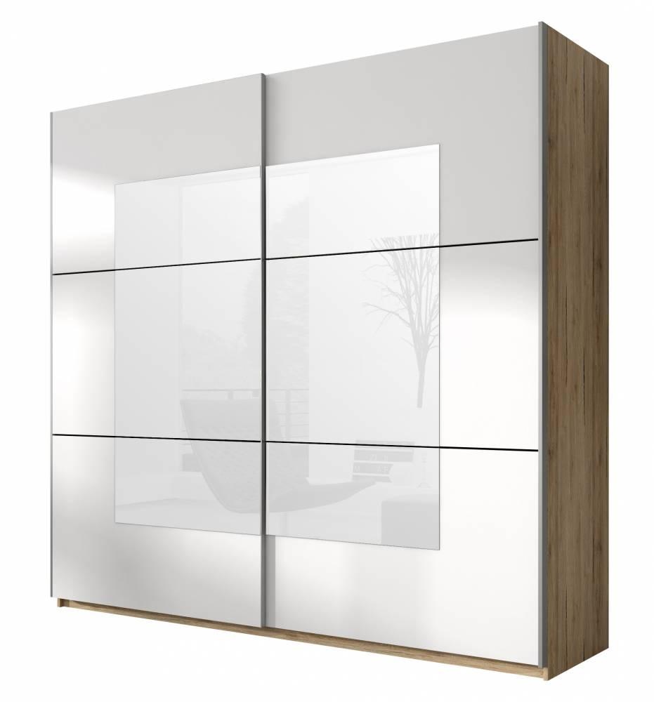 Šatníková skriňa Typ 58 (san remo svetlý + biela + zrkadlo)