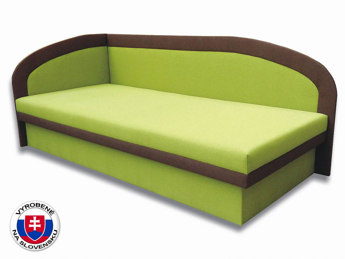 Jednolôžková posteľ (váľanda) 90 cm Melinda (Devon 001 zelená + Devon 009 hnedá) (L)
