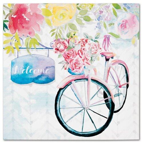 Obraz na plátne Bicycle with roses, 28 x 28 cm