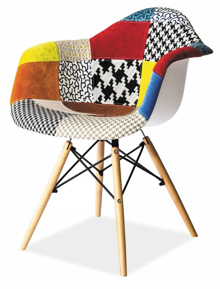 Jedálenská stolička Leon A (patchwork + buk)