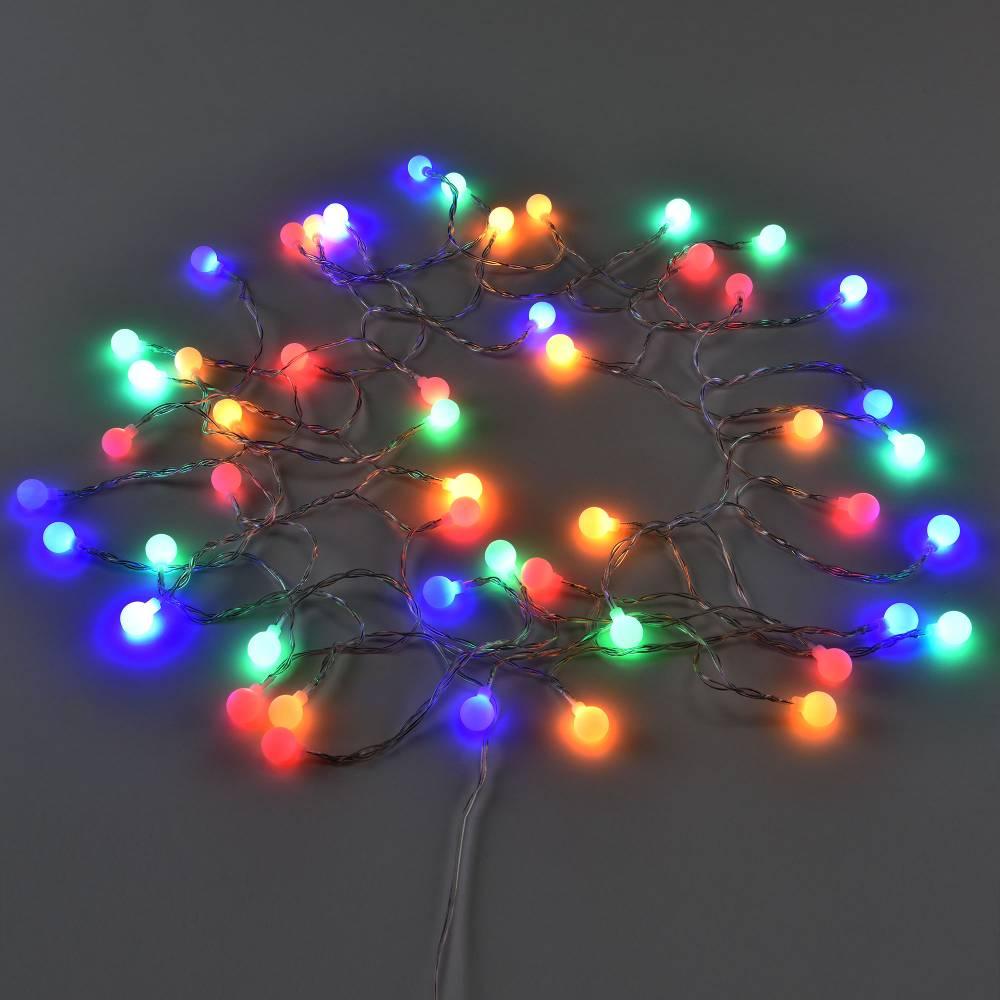 [in.tec]® Vianočná svetelná reťaz - farebná guličky - 50 LED