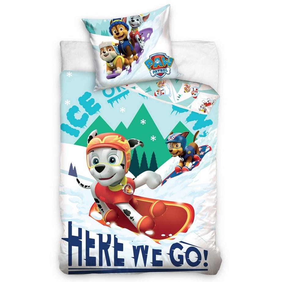 Carbotex Detské obliečky bavlna Tlapková Patrola Snowboarďáci