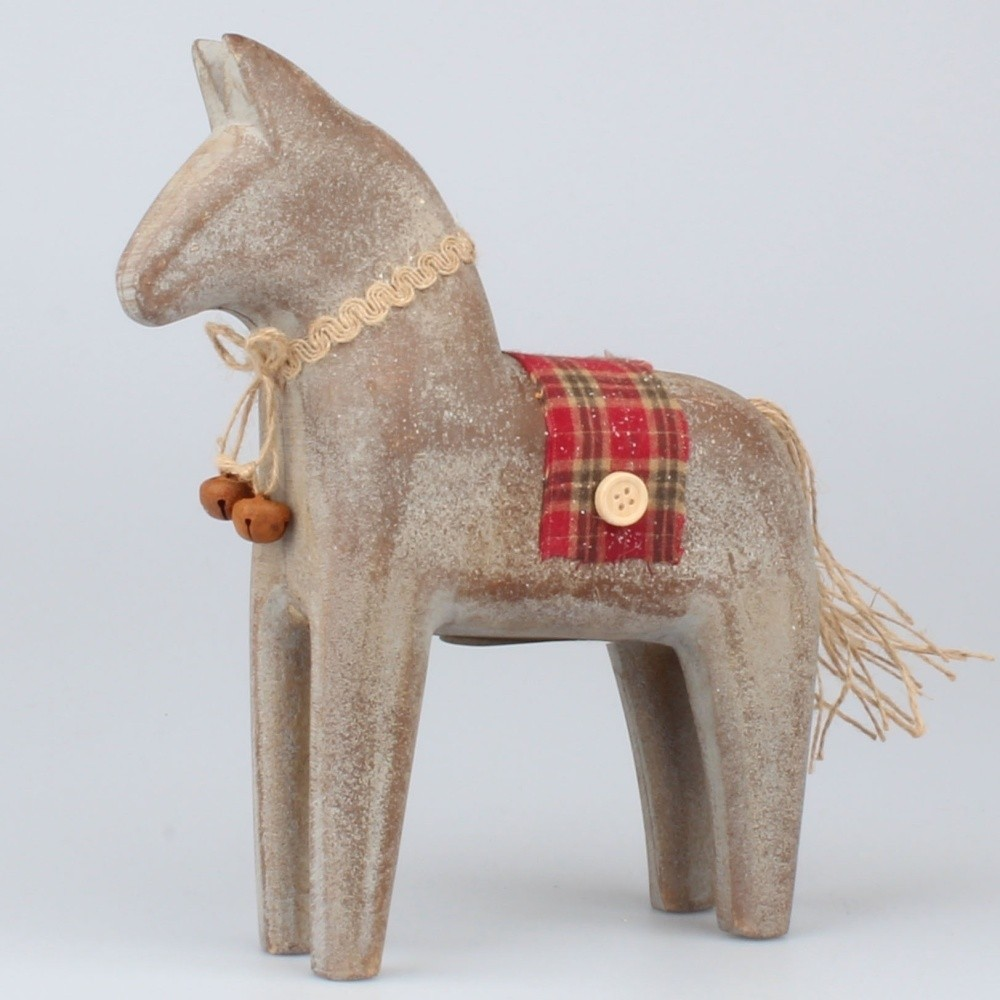 Drevená dekoratívna soška koníka Dakls, výška 12,5 cm