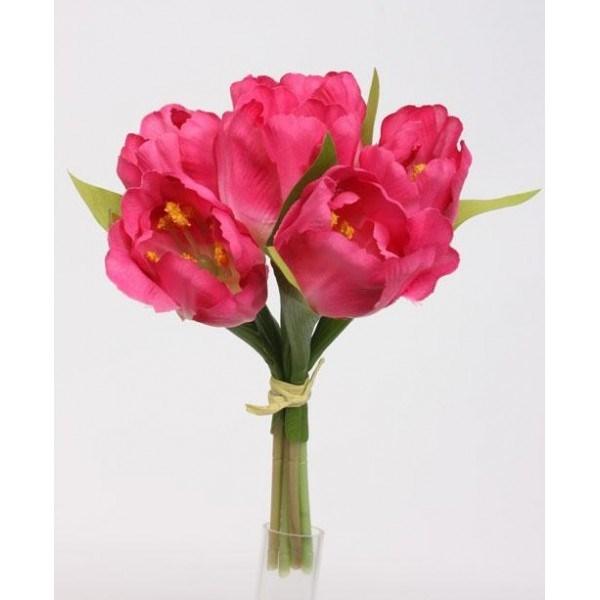 Umelá kvetina zväzok Tulipán, ružová