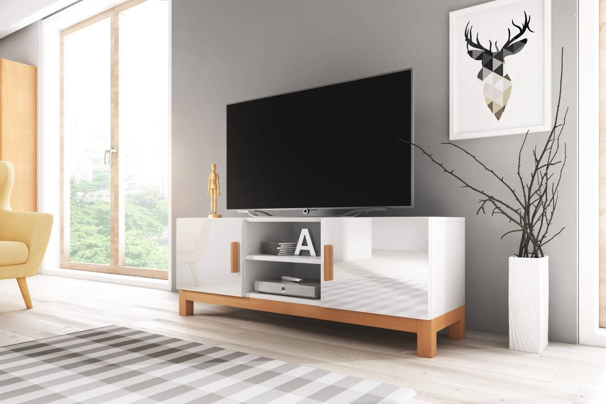 TV stolík/skrinka Norge (biely lesk + biela matná)