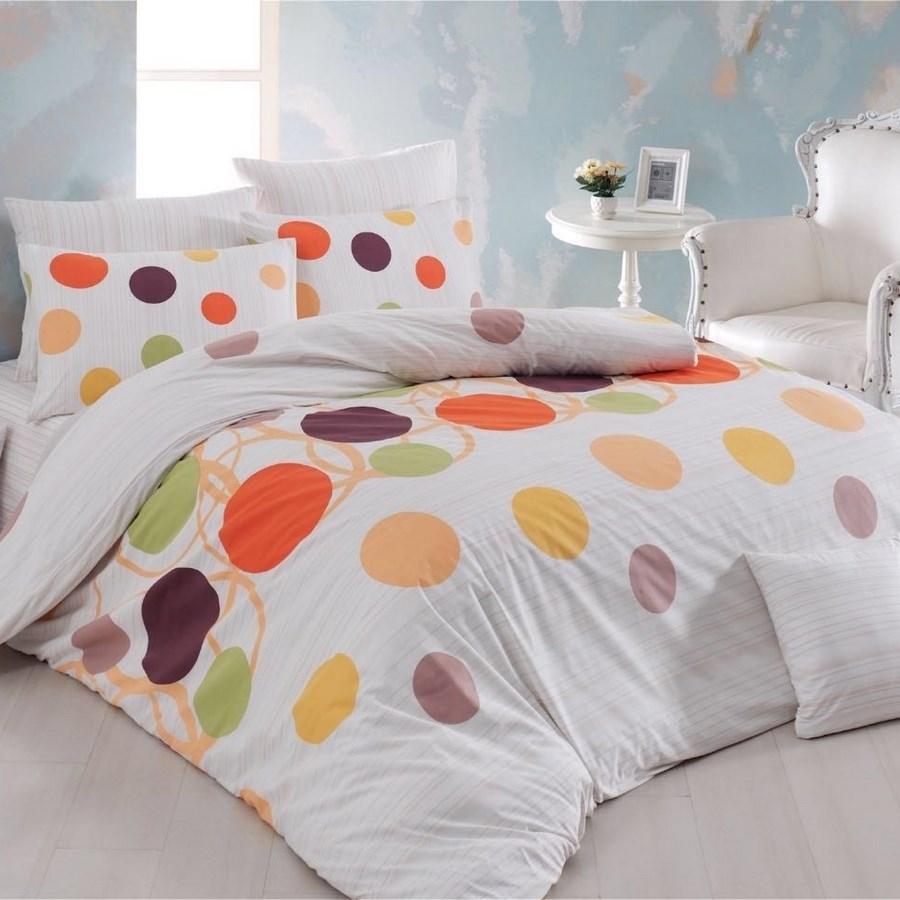 Night in Colours Bavlnené obliečky Bodky oranžová, 220 x 200cm, 2x 70 x 90 cm, 220 x 200 cm, 2 ks 70 x 90 cm
