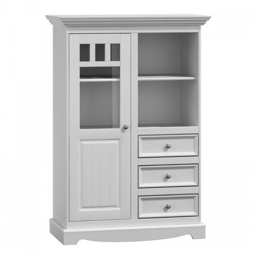 Biely nábytok Vitrína Belluno Ellegante 2d /3s, biela, masív, borovica