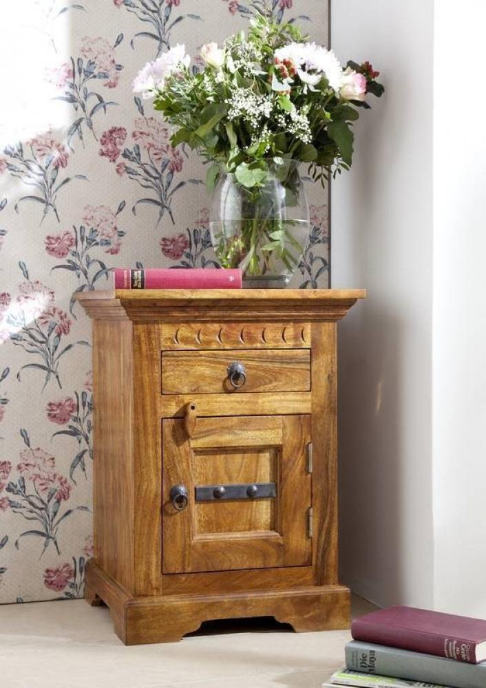 Bighome - CAMBRIDGE HONEY nočný stolík, masívne akáciové drevo, medová