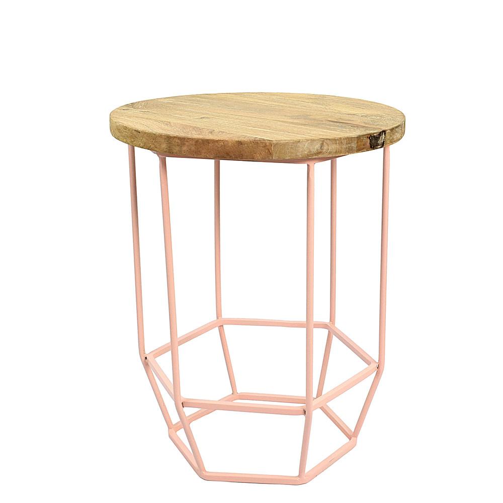 Ružový stolík s doskou zmangového dreva HF Living Hexa Blush mini