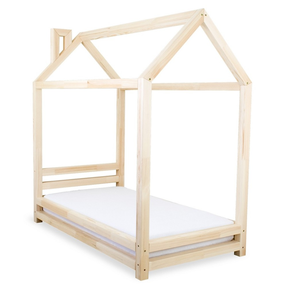 Detská posteľ z lakovaného smrekového dreva Benlemi Happy, 90 × 180 cm
