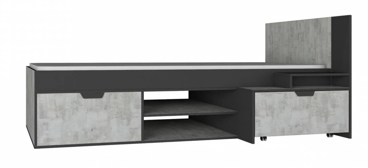 Jednolôžková posteľ NANO NA13 Ľ/P   Farba: grafit / enigma