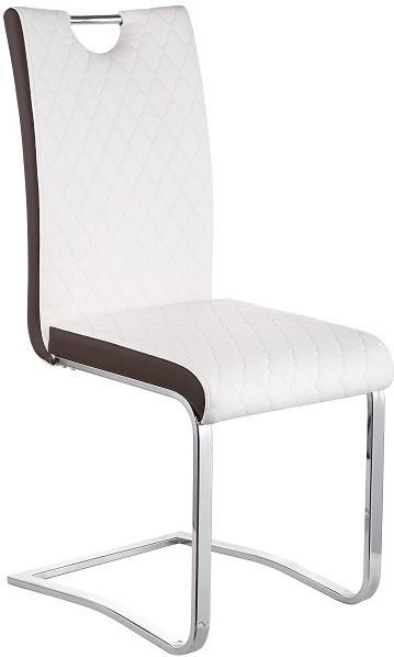 Jedálenská stolička, Chróm/Ekokoža, Biela/hnedá, IMANE
