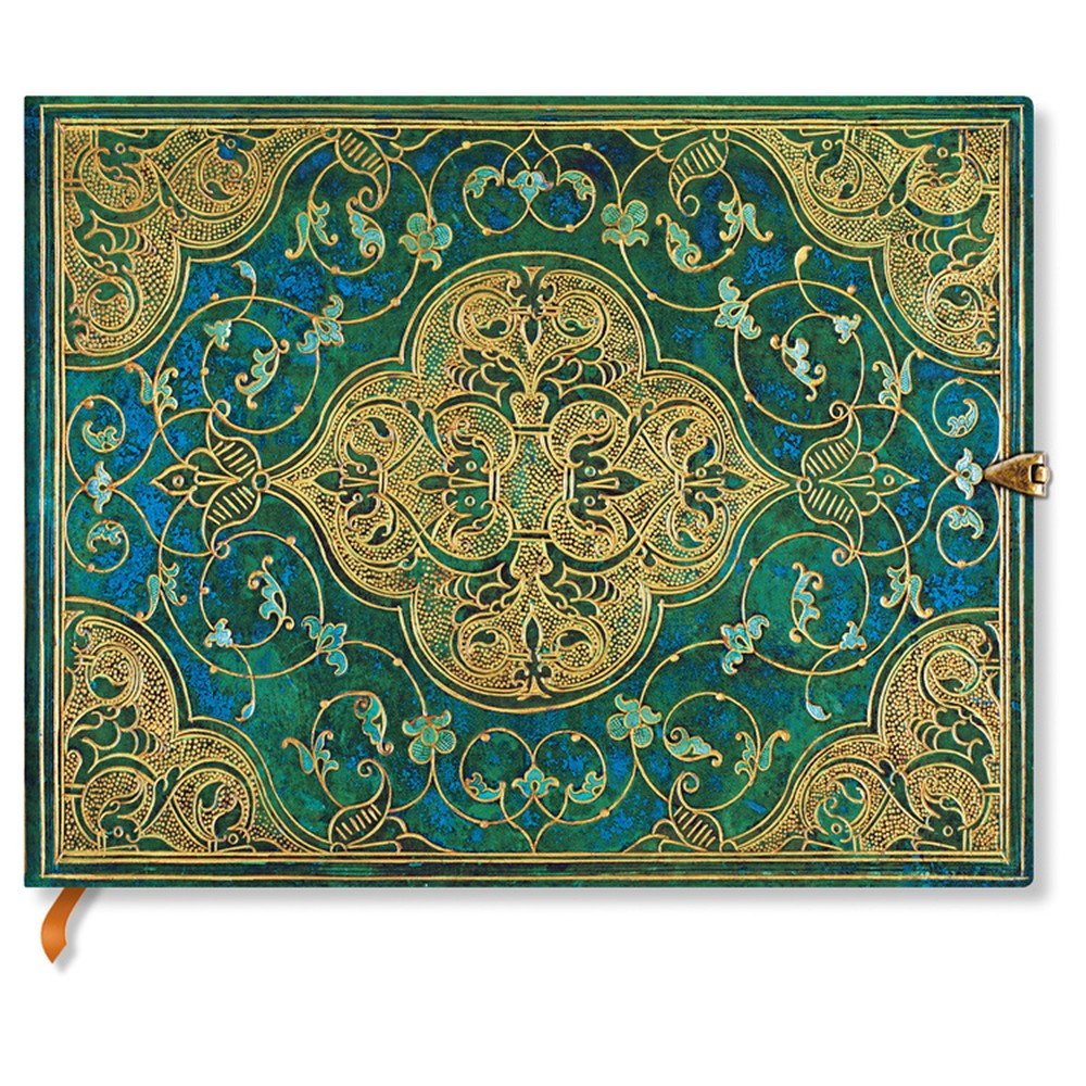 Nelinkovaný zápisník s tvrdou väzbou Paperblanks Turquoise Chronicles, 18 x 23 cm
