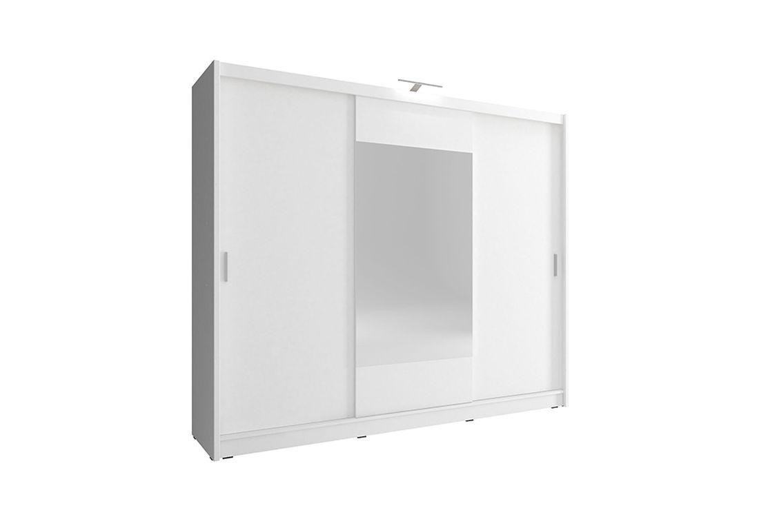 Šatníková skriňa WHITNEY 250, biely, + LED, 62x214x250 cm