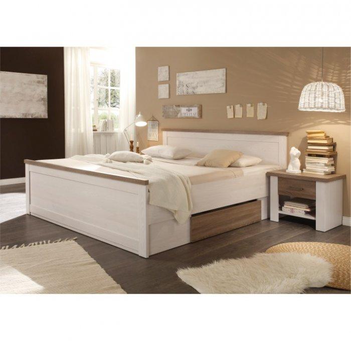 TEMPO KONDELA LUMERA 180 manželská posteľ + 2x nočný stolík - pínia biela / dub sonoma truflový