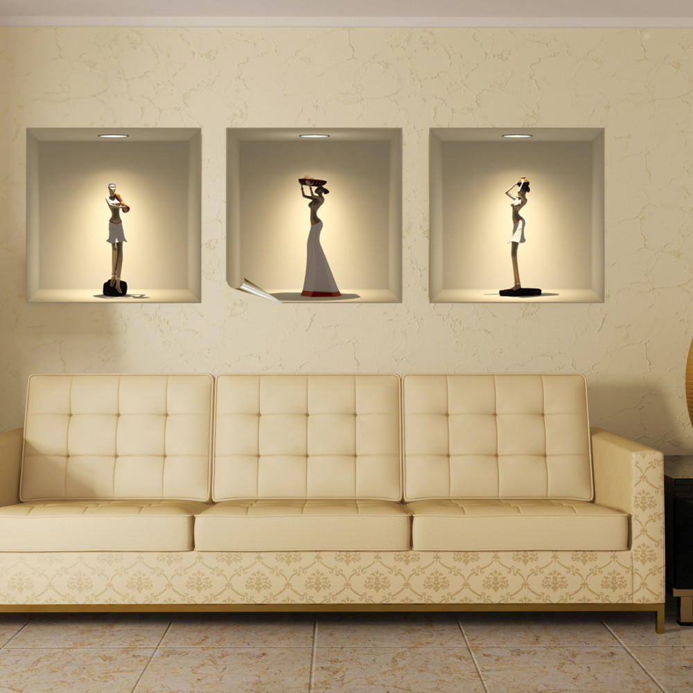 Sada 3 3D samolepiek Ambiance African Statues