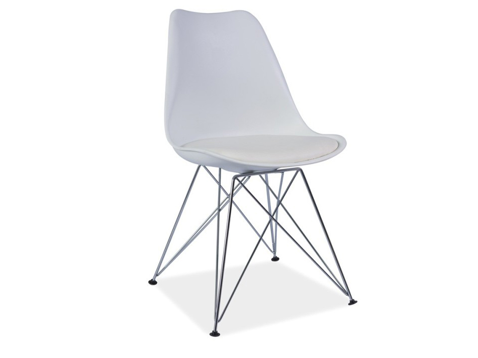 Jedálenská stolička Metal (ekokoža biela) *bazár