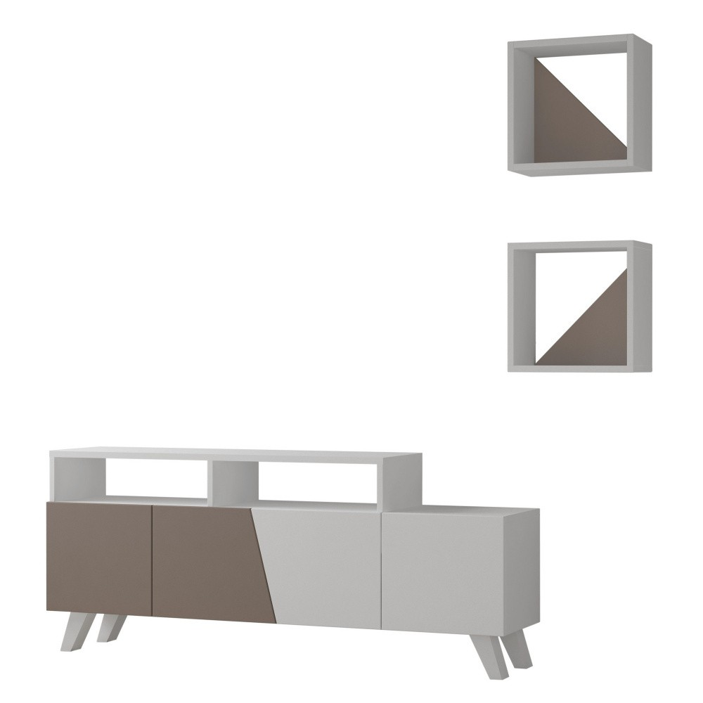 Set sivého TV stolíka a 2 nástenných poličiek Homitis Cafune