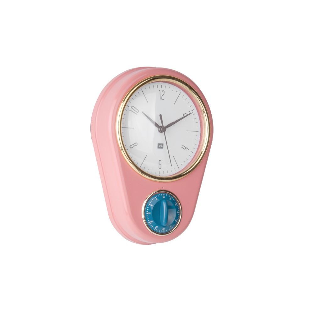 Ružové nástenné hodiny s kuchynskou minútkou PT LIVING