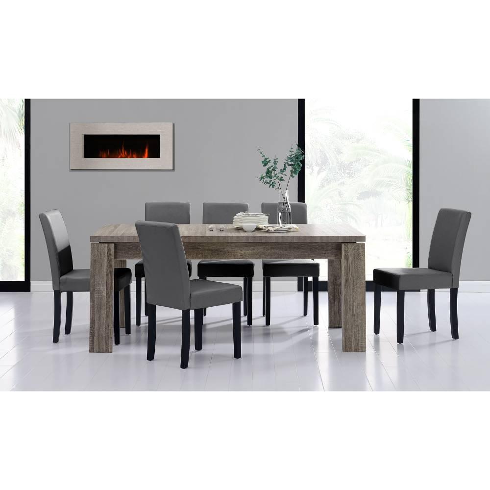 [en.casa]® Rustikálny dubový jedálenský stôl so 6 stoličkami - tmavý stôl - tmavo sivé stoličky