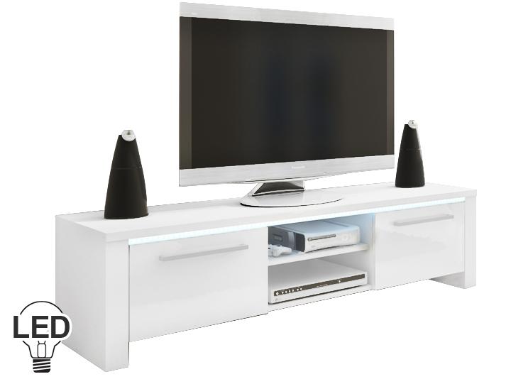 TV stolík/skrinka Helix (biela + lesk biely)