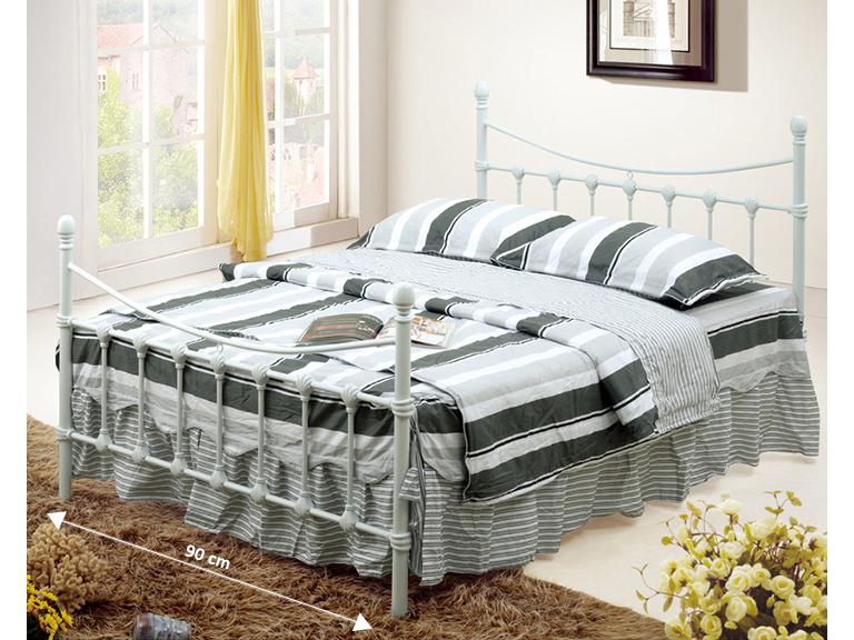 Jednolôžková posteľ 90 cm Nieves (s roštom) (biela)