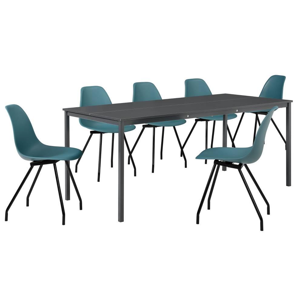 [en.casa]® Štýlová dizajnová jedálenská zostava - tmavo sivý stôl - so 6 elegantnými stoličkami - tyrkysovými