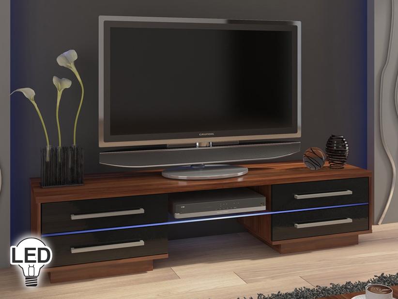 TV stolík/skrinka Laguna (slivka + lesk čierny)
