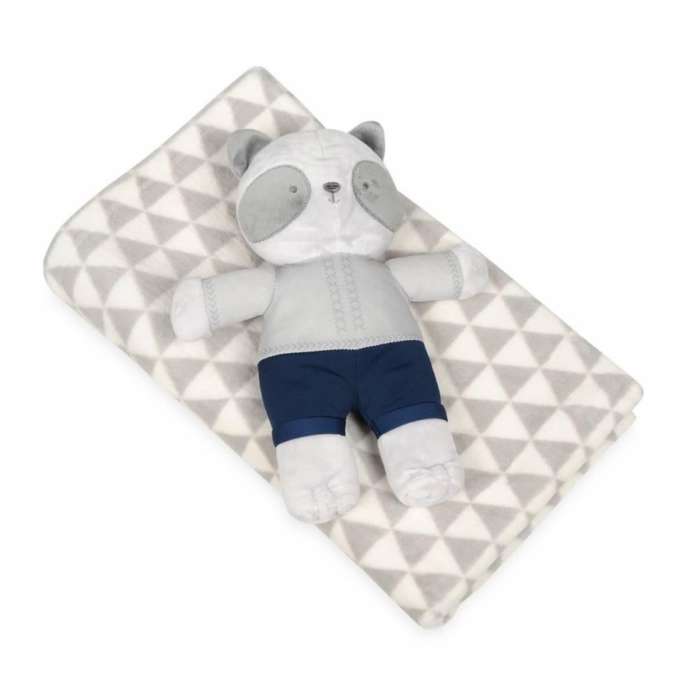 Babymatex Detská deka sivá s plyšákom medvedík, 75 x 100 cm