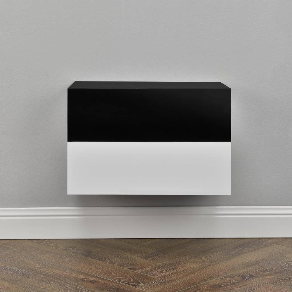 [en.casa]® Nočný stolík na stenu - dvojkombinácia - biela s vysokým leskom / čierna s vysokým leskom