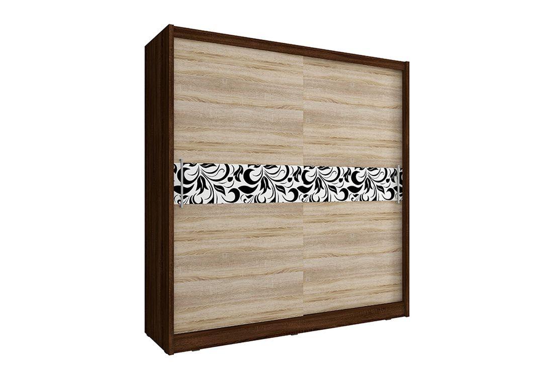 Šatníková skriňa WHITNEY 5 A, 180x200x62 cm, dub sonoma/čokoláda
