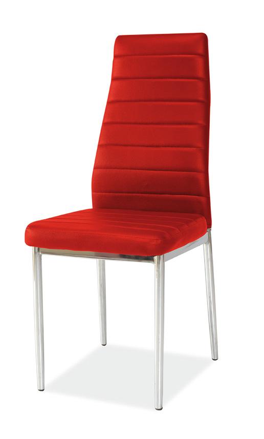 Jedálenská stolička VERME, červená/chróm