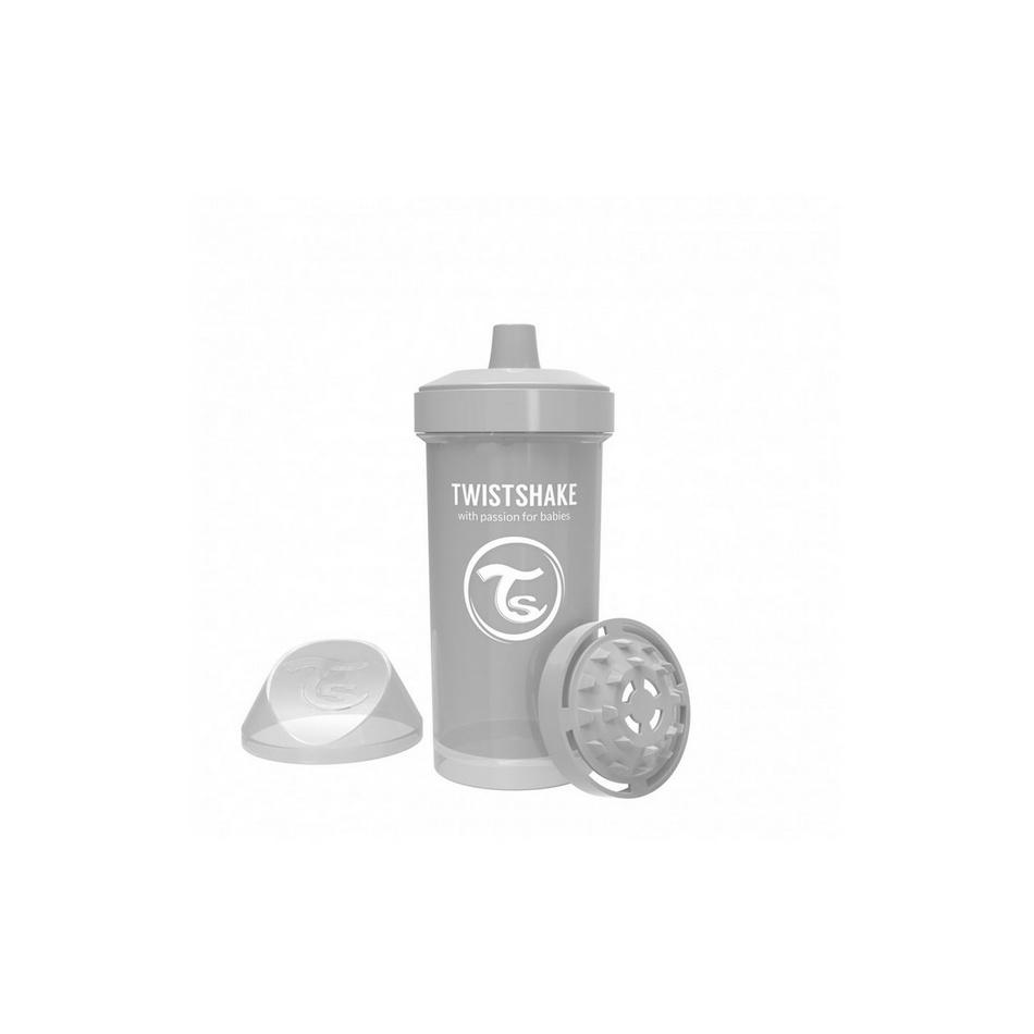Twistshake Netečúca fľaša s náustkom 360 ml 12 m+, sivá