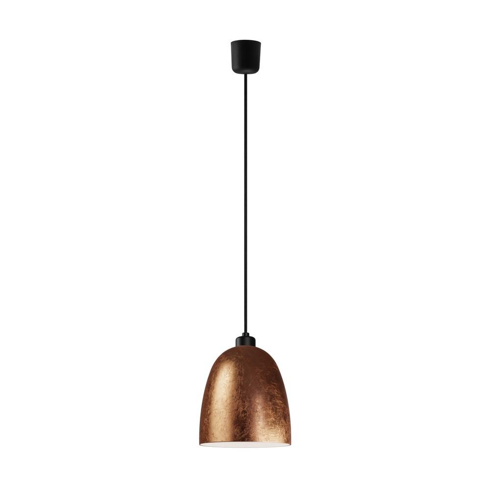 Medené závesné svietidlo s čiernym káblom a čiernou objímkou Sotto Luce Awa