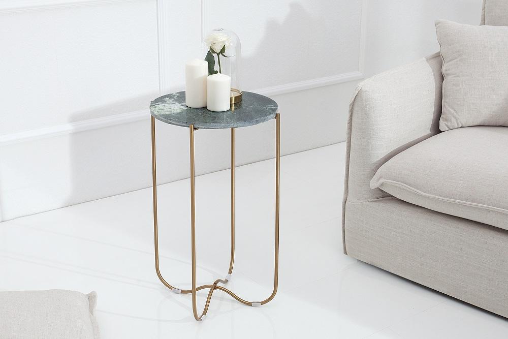 Bighome - Príručný stolík NOBL - zelená . zlatá