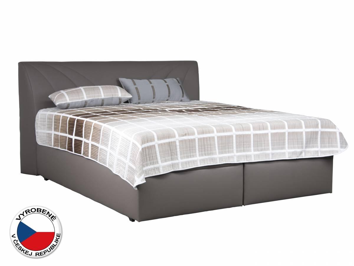 Manželská posteľ 180 cm Blanár Velvet (sivá) (s roštom, matracom, dennou dekou a vankúšmi)
