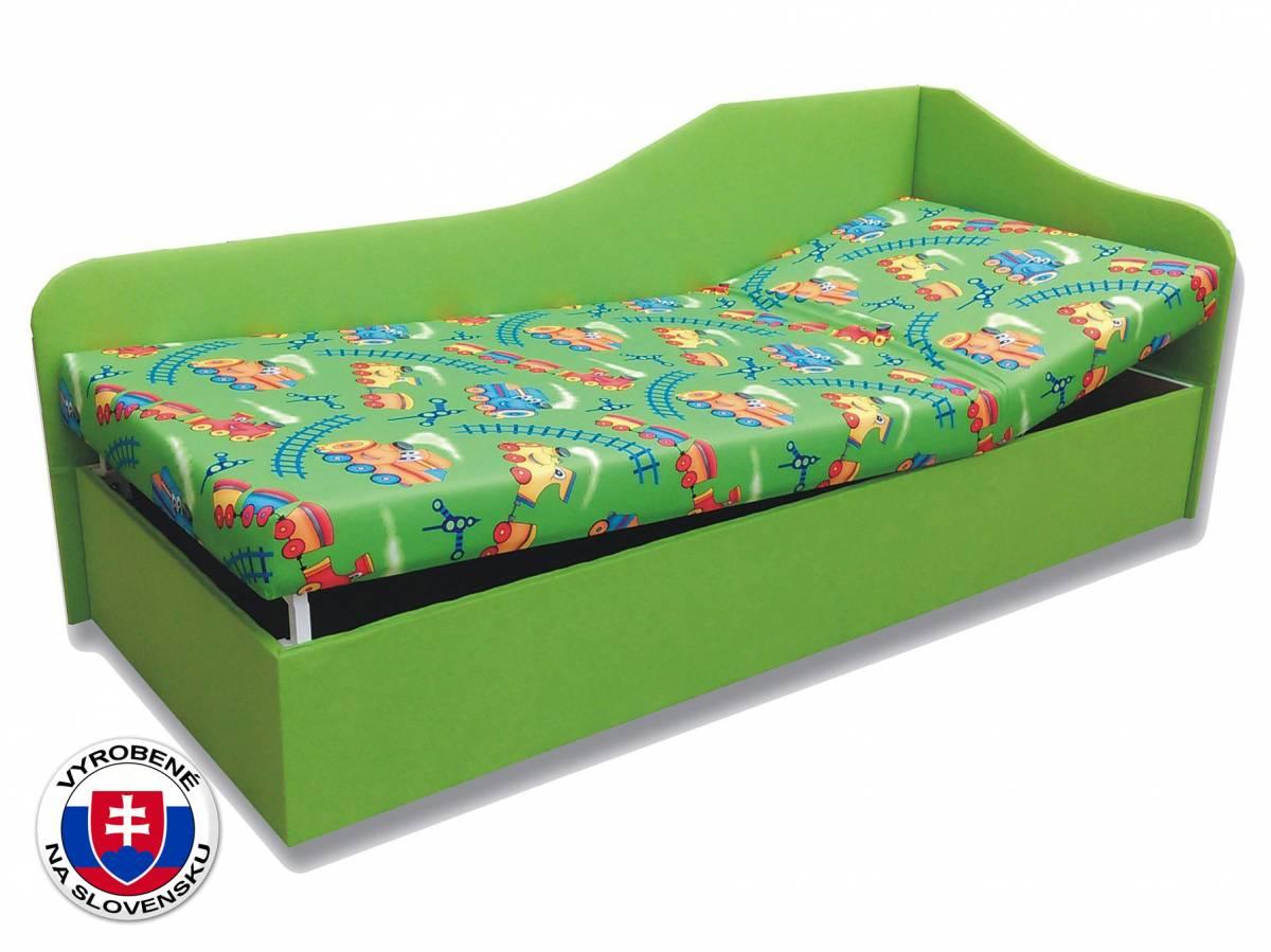 Jednolôžková posteľ (váľanda) 80 cm Anita (Vláčik 4 + Zelená x101) (P)