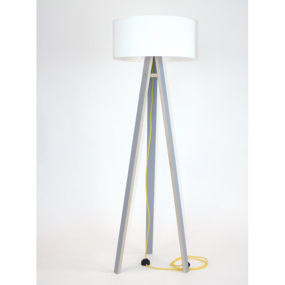Sivá stojacia lampa s bielym tienidloma žltým káblom Ragaba Wanda