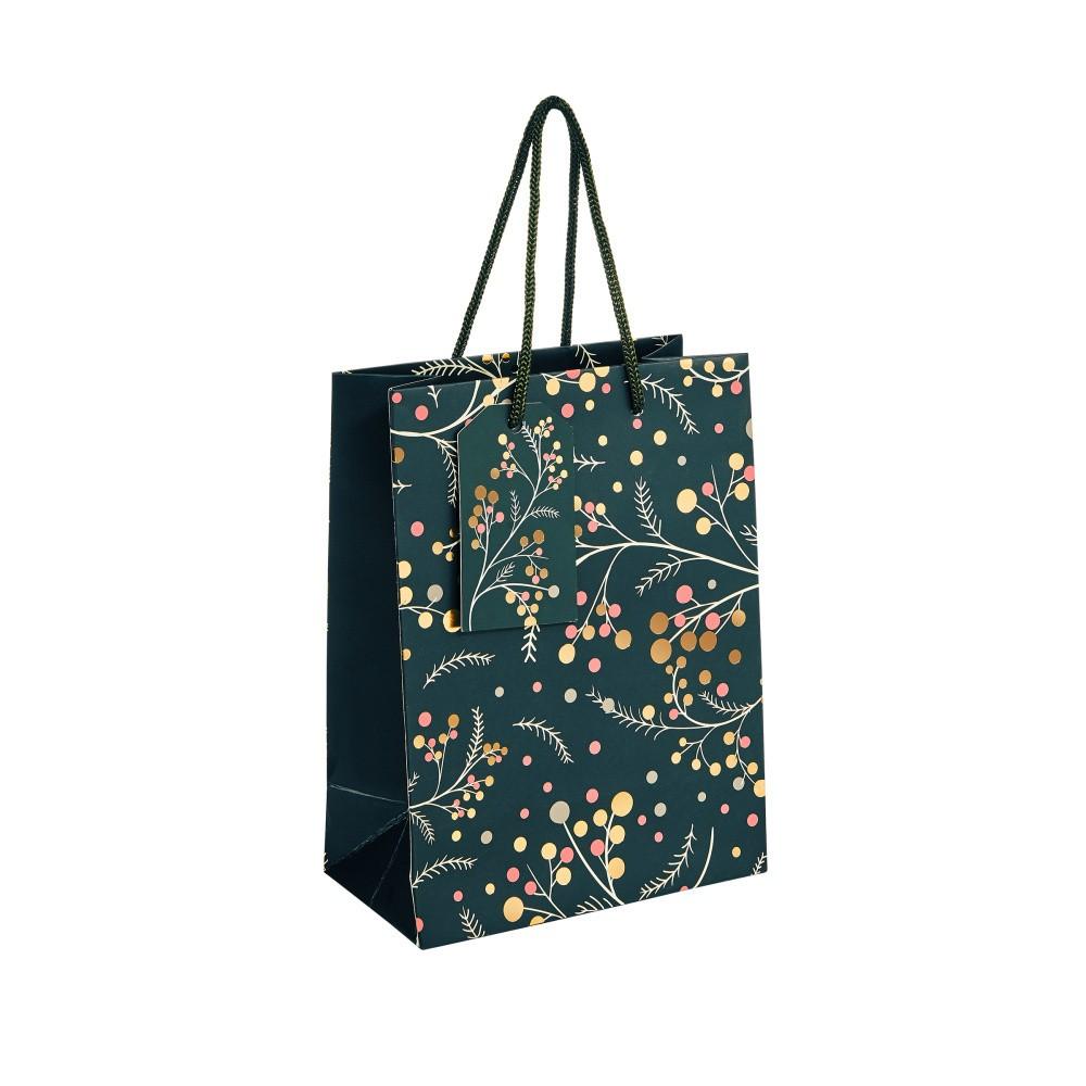 Darčeková taška s motívom vetvičky s bobuľkami Butlers, výška 9,2 cm