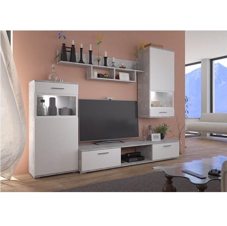 TEMPO KONDELA Obývacia stena, biela/betón svetlý, BREAK