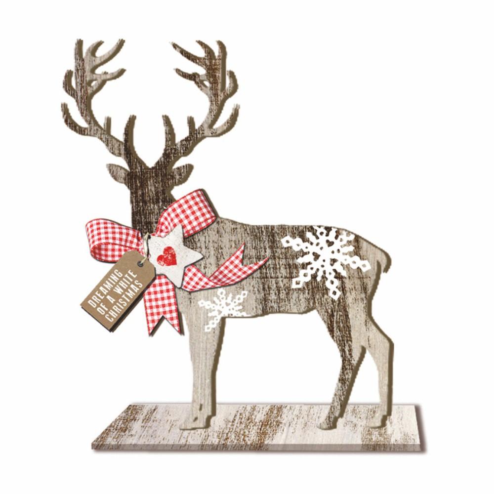 Drevená vianočná dekorácia PPD Deer Small Country Xmas, výška 20 cm