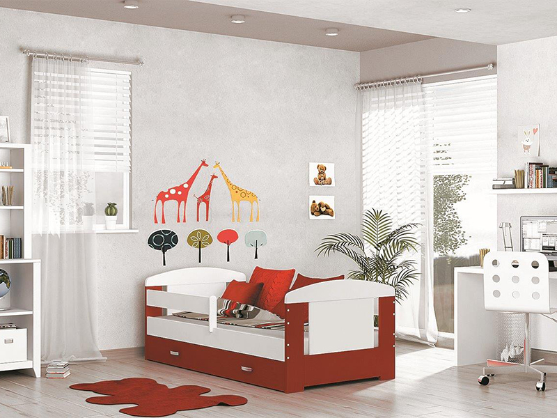 Detská posteľ FILIP COLOR s úložným priestorom   Farba: biela / červená