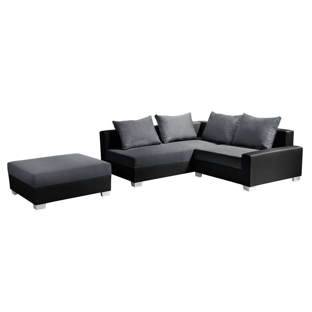 Čierno-sivá rohová pohovka s lôžkom na ľavej strane Interieur De Famille Paris Aventure