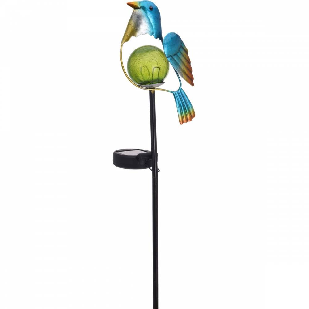 Solárna lampa Bird modrá, 13 x 6 x 52 cm