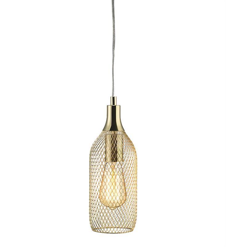 Zlaté závesné svetlo Markslöjd Grid, priemer 11 cm