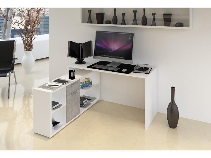 PC stolík Noe new (biela + betón)